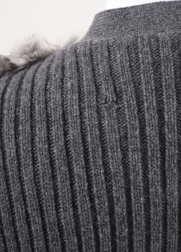 Prada New With Tags Grey Cream Chinchilla, Wool, and Cashmere Blend Sweater Vest Detail 2