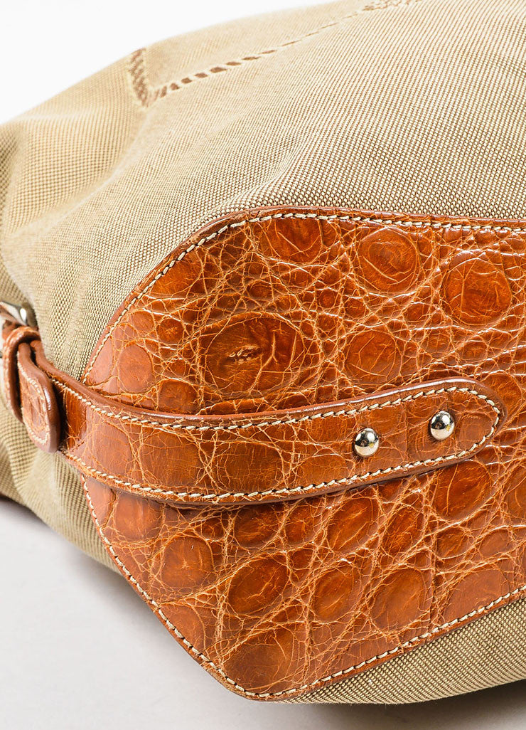 Prada Tan and Brown Canvas Crocodile Trim Logo Hobo Shoulder Bag Detail