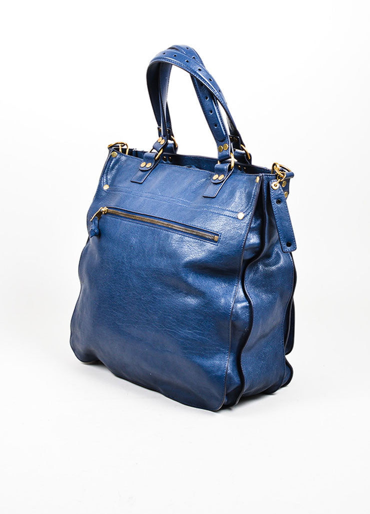 "Navy Blue Proenza Schouler Leather ""PS1"" Large Tote Bag Sideview"