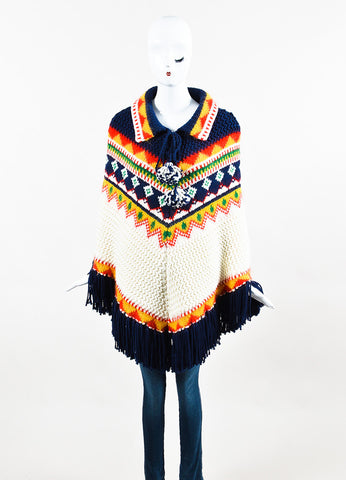 "Multicolor Saint Laurent Wool and Mohair ""Far Isle"" Poncho Front"