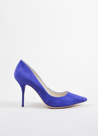 "Sophia Webster Blue-Purple Suede Pointed Toe ""Lola"" Pumps Side"