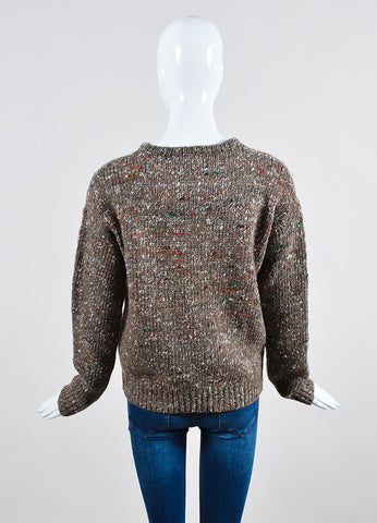 "Brown Wool Stella Jean ""Irvine Knit"" Speckled Sweater Backview"