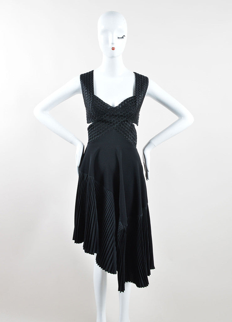 Stella McCartney Black Wave Embroidered Cut Out Pleated Dress Frontview