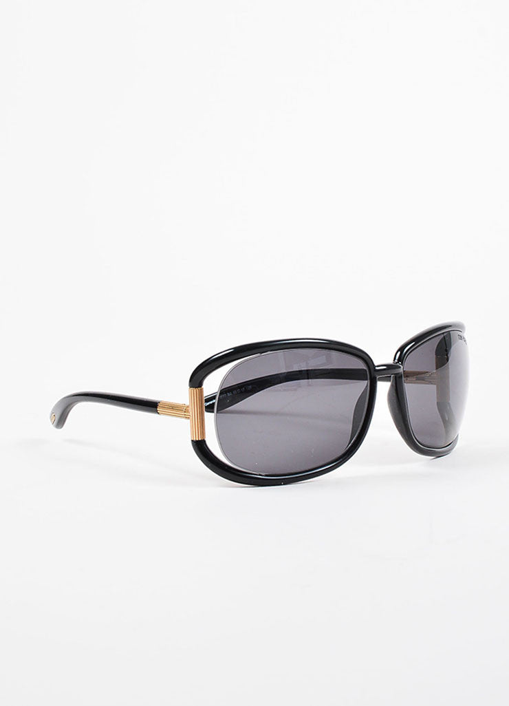 "Tom Ford Black Plastic and Gold Toned Metal Oversized ""Genevieve"" TF77 Sunglasses Sideview"