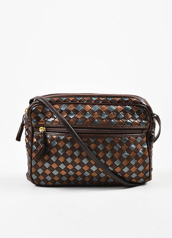 "Bottega Veneta Brown and Copper Leather ""Intrecciato"" Crossbody Bag Frontview"