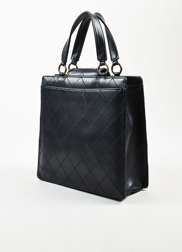 Chanel Black Leather Quilted Structured Tote Bag Sideview