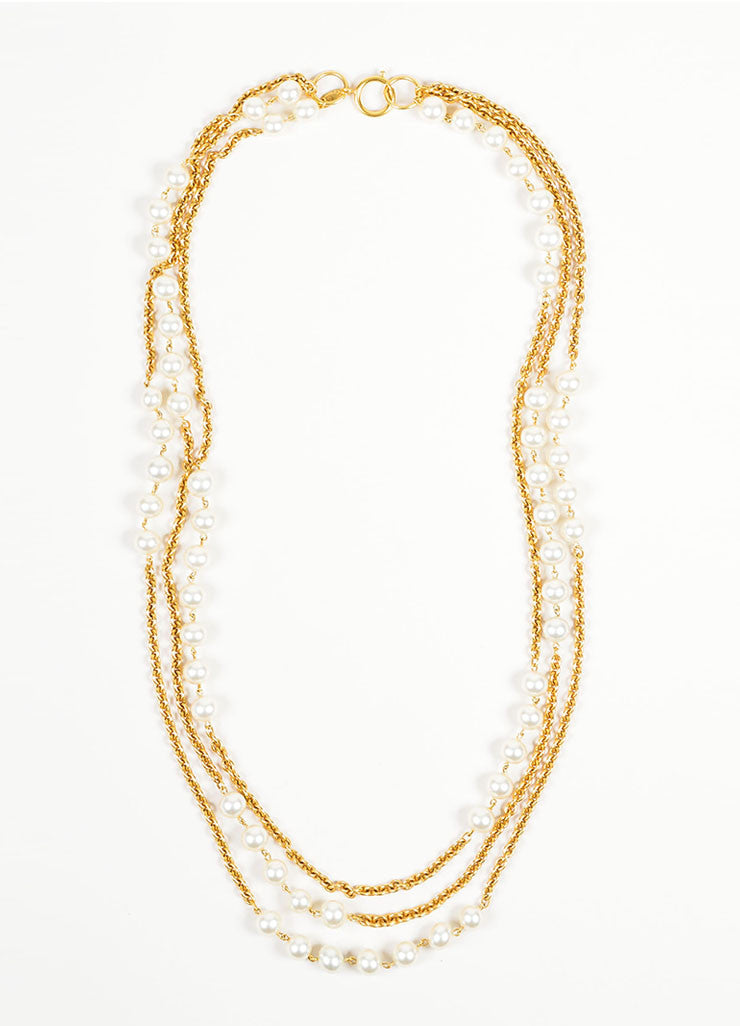 Gold Toned and Faux Pearl Chanel Long Multi Strand Chain Necklace Frontview
