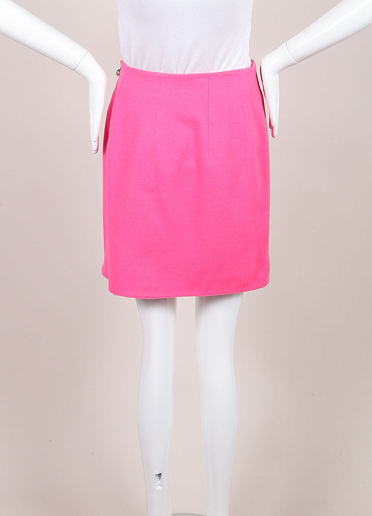 Claude Montana Pink and Silver Toned Wool Mini Skirt Backview