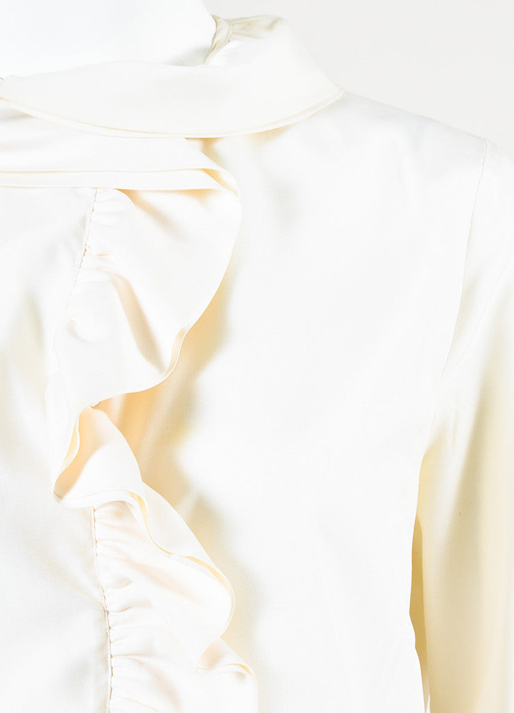Gucci Cream Silk Layered Ruffle Long Sleeve Button Up Blouse Detail