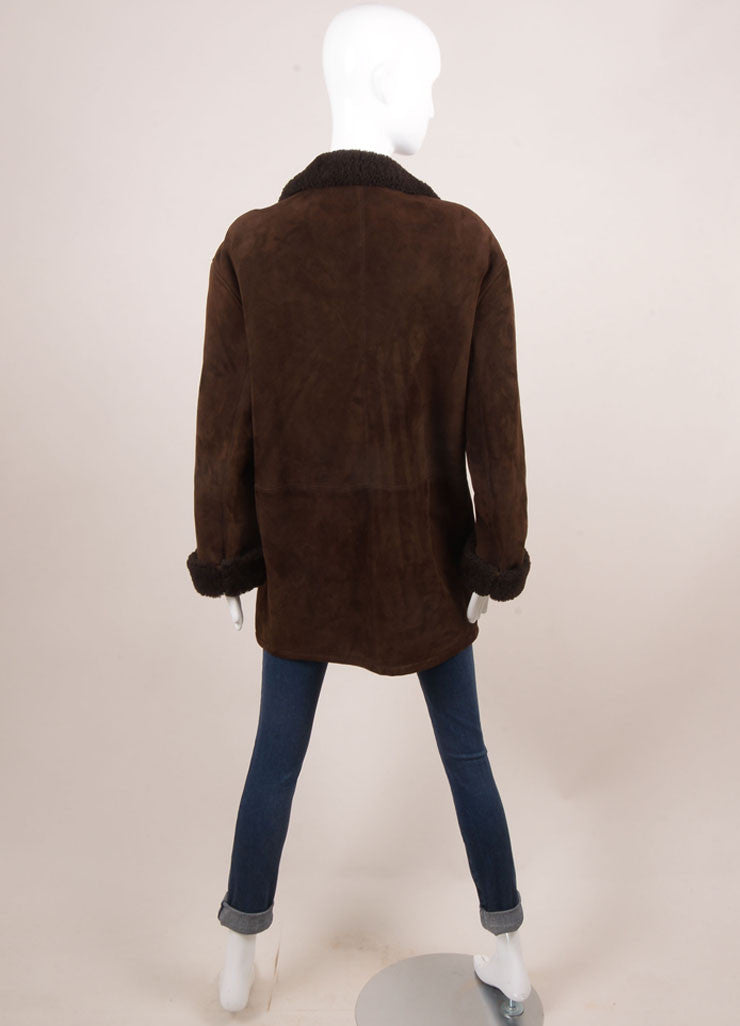 Hermes Brown Suede Shearling Long Zip Coat Backview