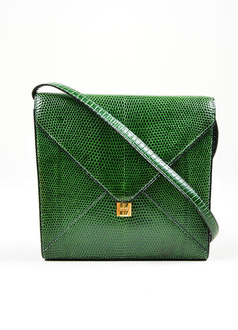 "Green Hermes Lizard Leather ""Marigny"" Envelope Clutch Shoulder Bag Frontview"