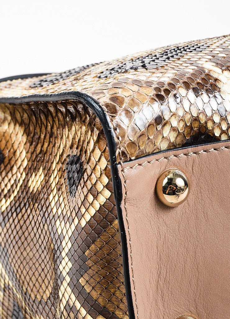 "Valentino Garavani Taupe and Black Python and Leather ""Aphrodite"" Satchel Bag Detail"