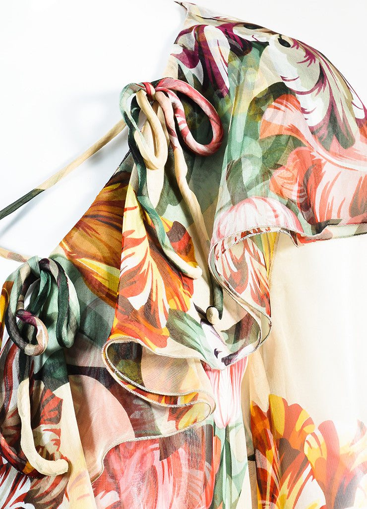 Valentino Multicolor Floral Chiffon Ruffled Sheer Criss Cross Long Sleeve Blouse Detail