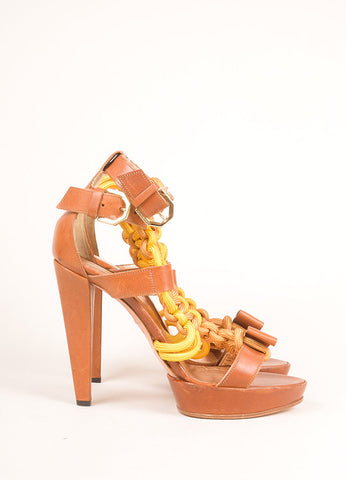 Viktor & Rolf Brown and Yellow Leather Rope Platform Sandals Sideview