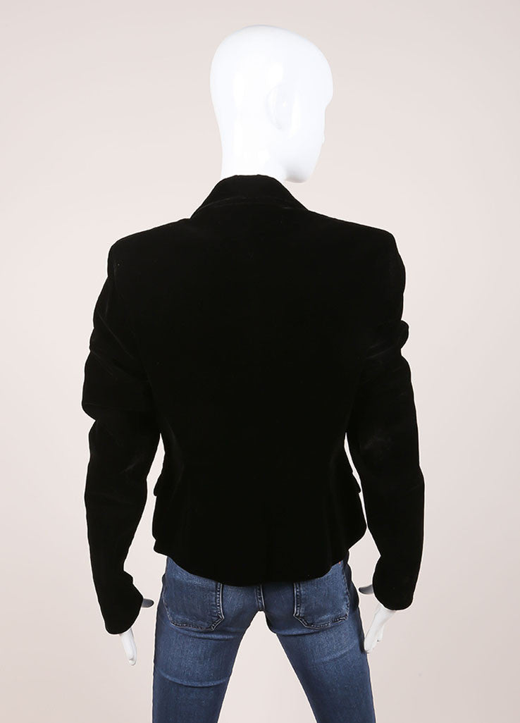 Yves Saint Laurent Black Velvet Blazer Backview