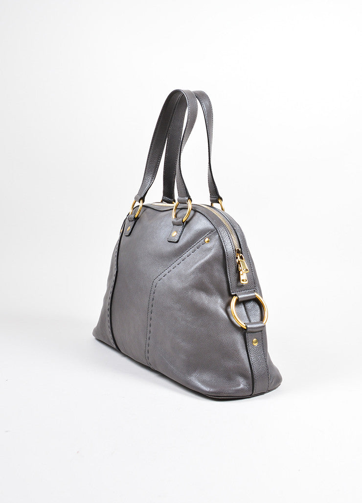 "Yves Saint Laurent Gray Pebbled Leather ""Muse"" Zip Dome Satchel Bag Sideview"