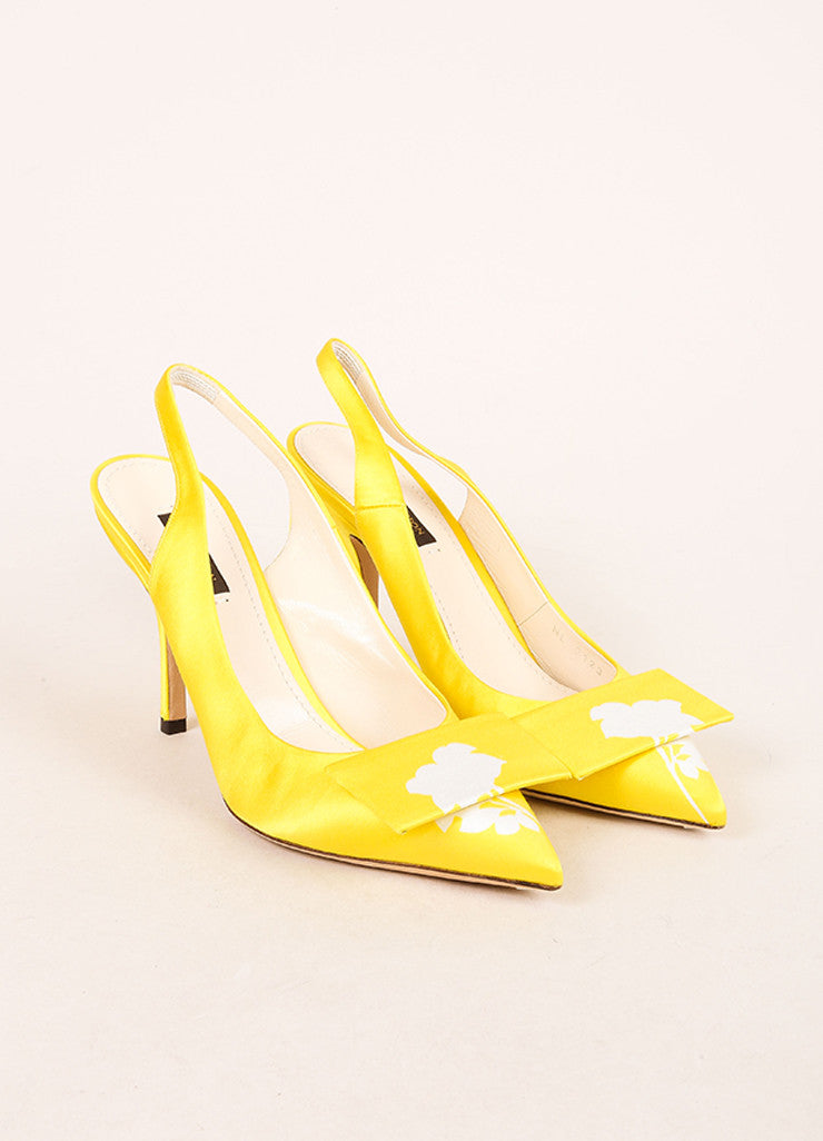 Louis Vuitton Yellow Satin Floral Print Slingback Heels Frontview