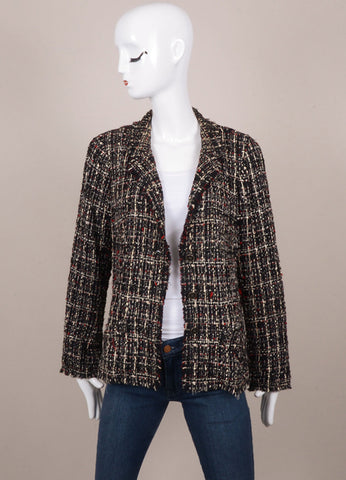 Chanel Black, White, and Red Tweed Long Sleeve Jacket Frontview