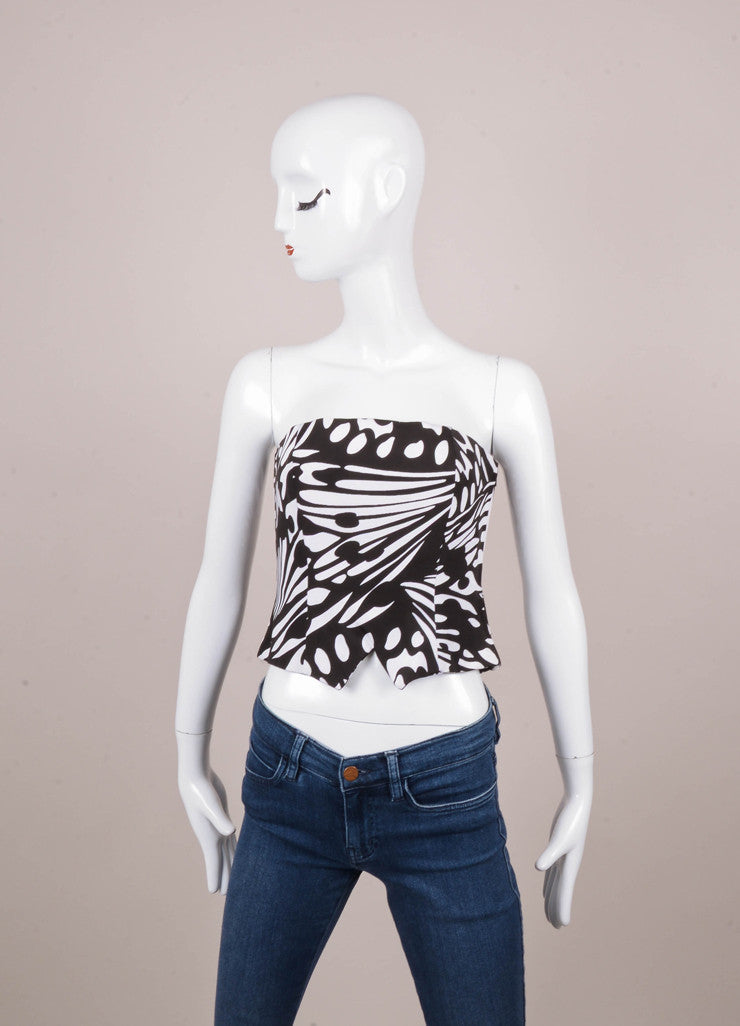 Black and White Patterned Cropped Grosgrain Strapless Bustier Top