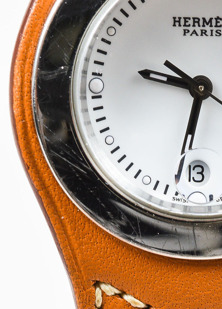 "Cognac Brown Hermes Leather and Stainless Steel ""Harnais"" Watch Detail 2"