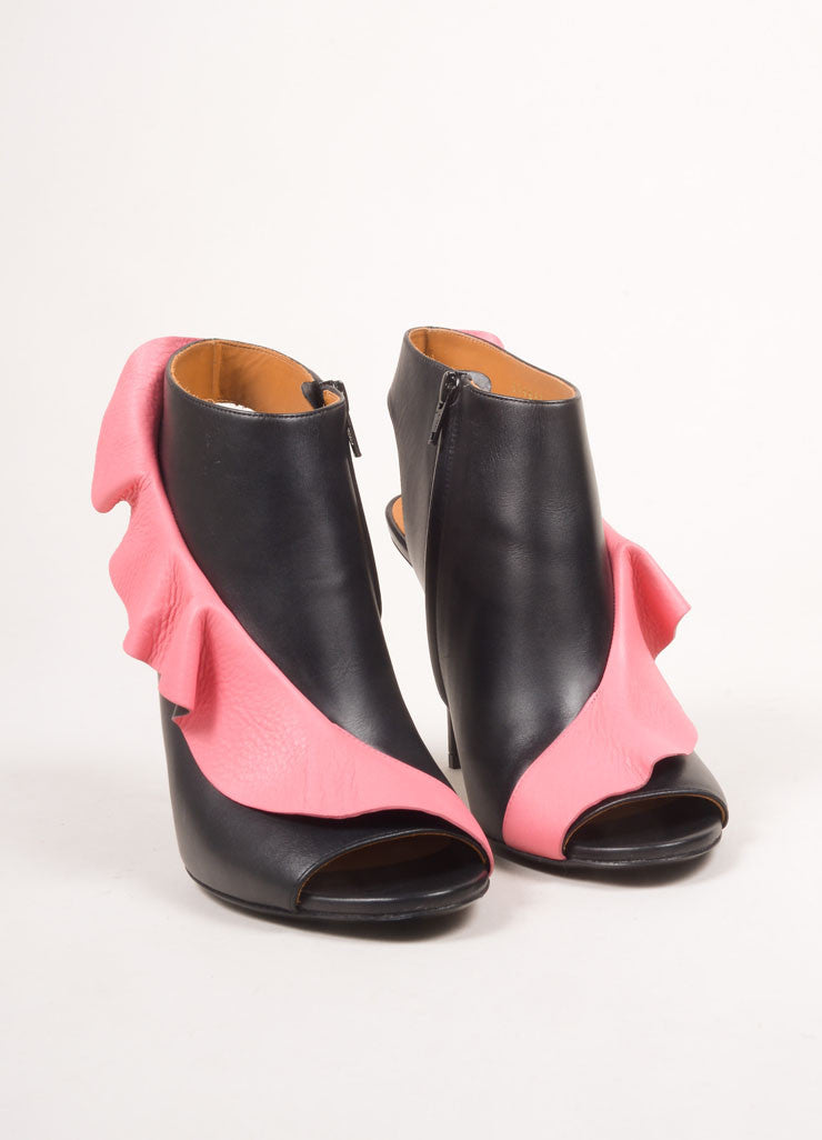 Balenciaga New In Box Black and Pink Leather Contrast Ruffle Peep Toe Booties Frontview