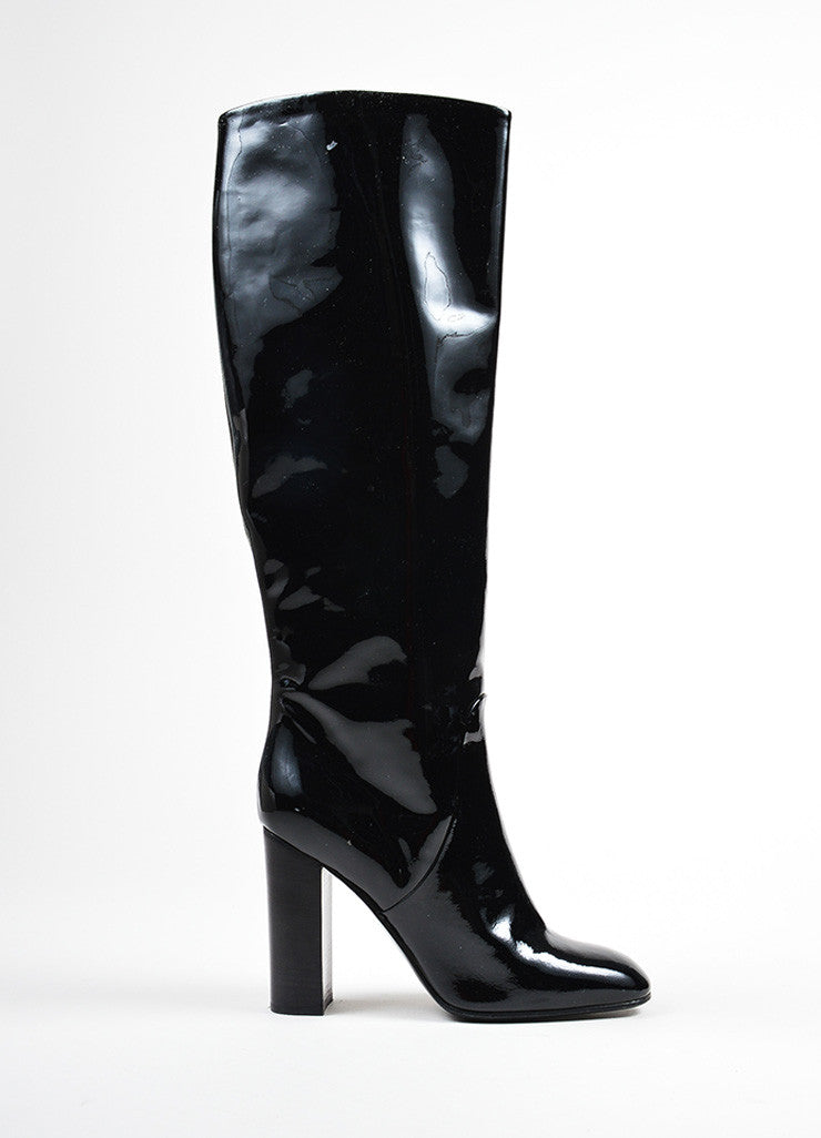 Black Bottega Veneta Patent Leather Knee High Block Heel Boots Sideview