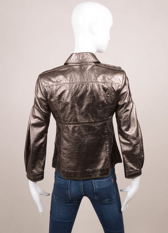 Burberry Gunmetal Lambskin Leather Double Breasted Short Jacket Backview
