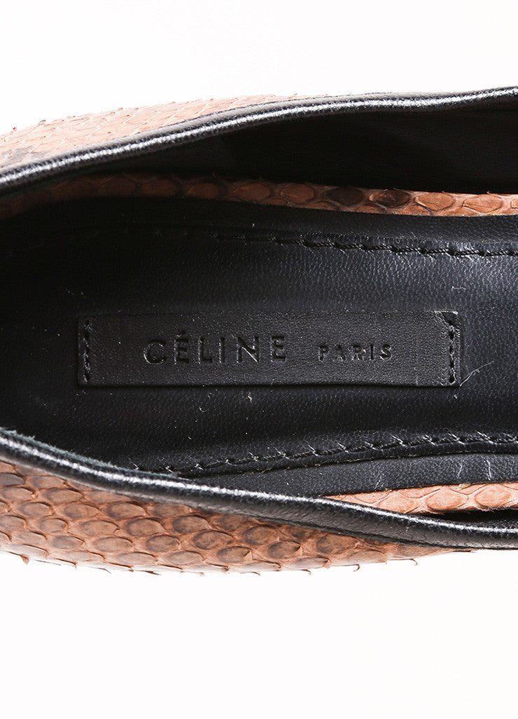 Celine Brown and Black Snakeskin Round Toe Flats Brand