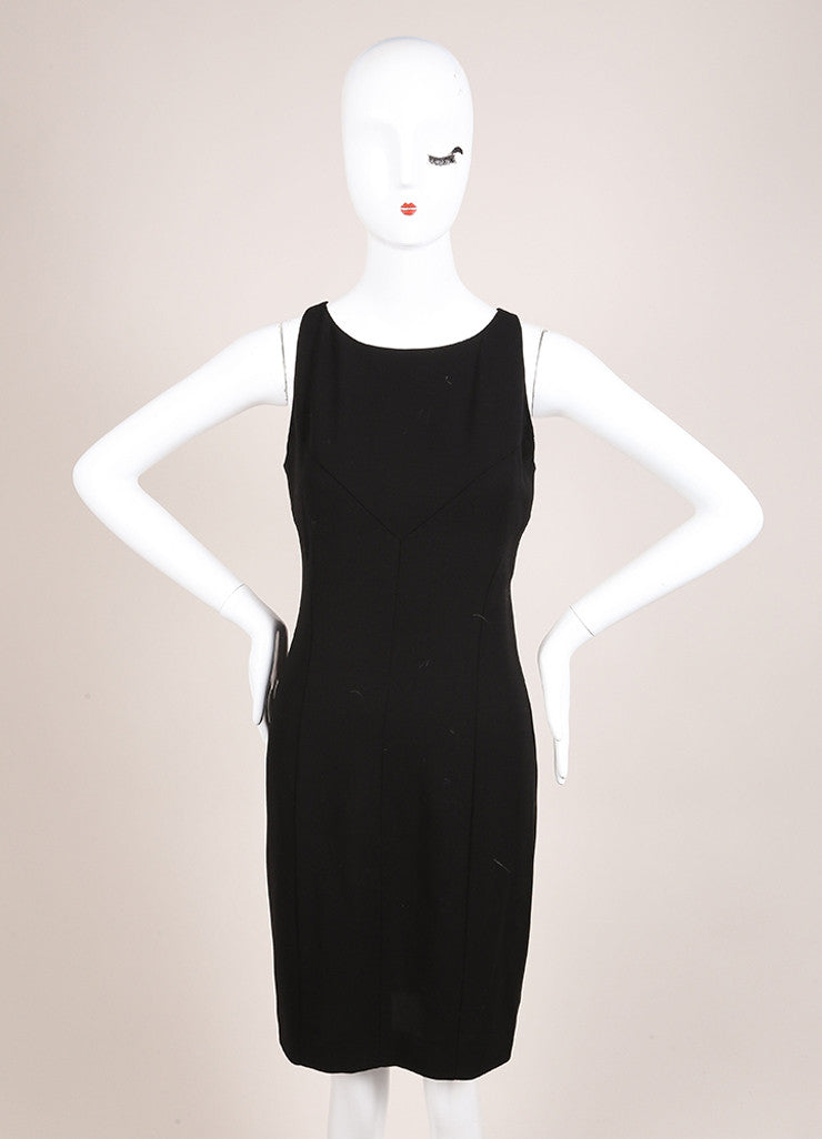 Chanel Black Silk Knit Sleeveless Shift Dress Frontview