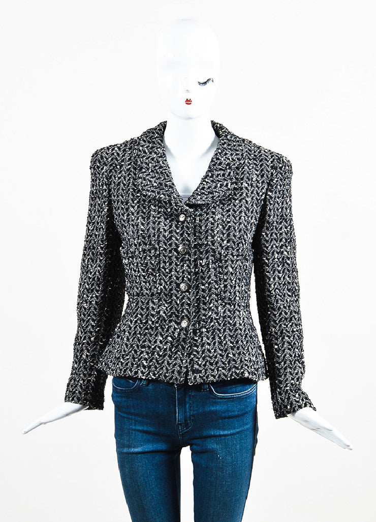"Chanel 97A Black White Wool Tweed Gunmetal ""CC"" Button Jacket Front 2"