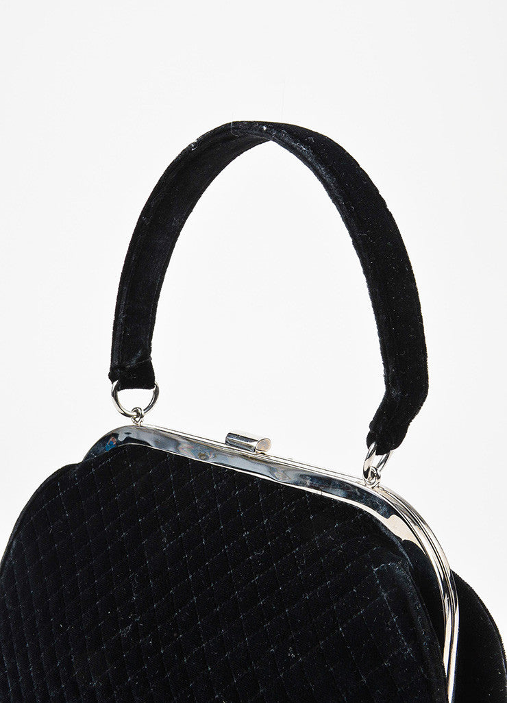 Chanel Black Quilted Velvet Silver Toned Frame Evening Bag Detail 2