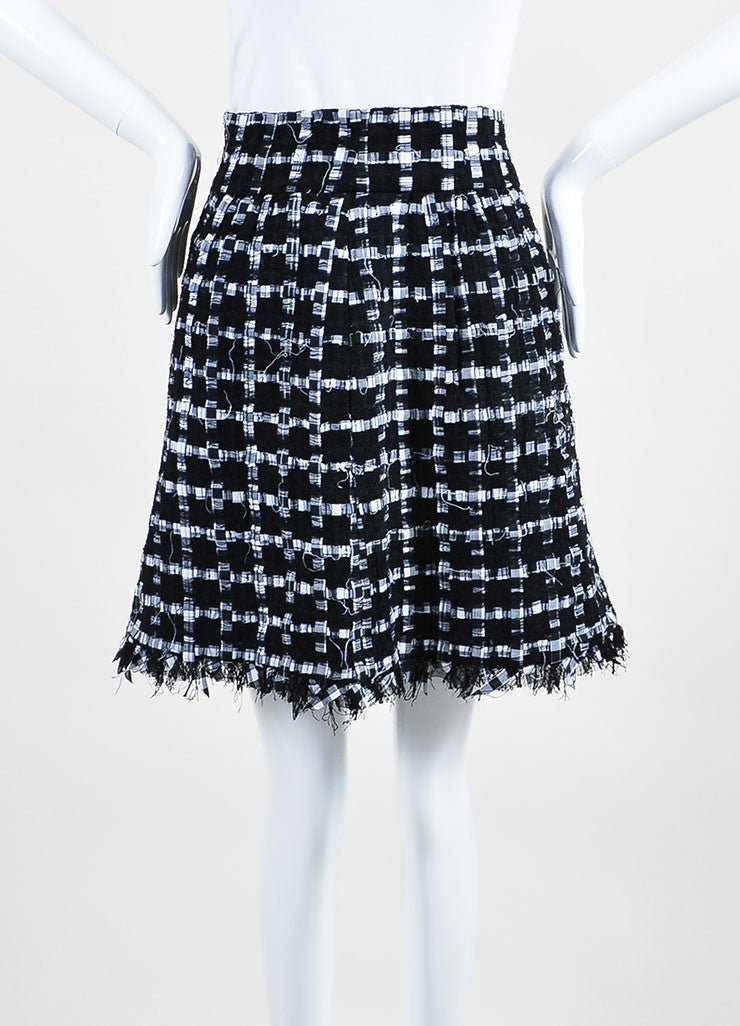 Black and White Chanel Ribbon Tweed Fringe Skirt Frontview