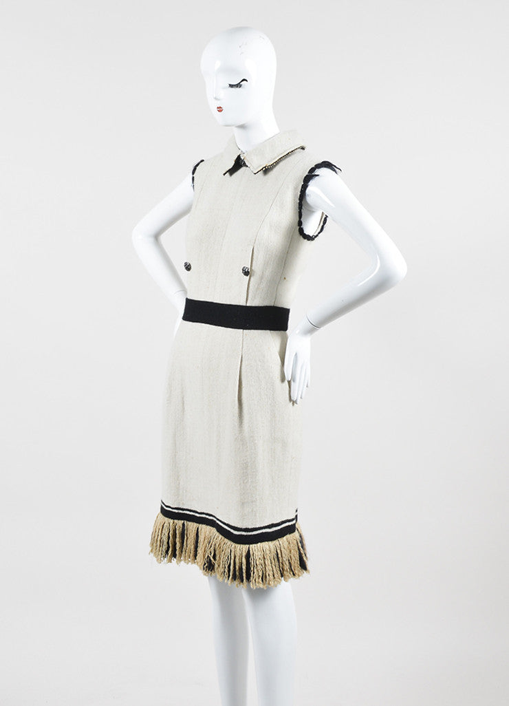 Cream and Black Chanel Cashmere and Silk Knit Fringe Hem Collared Sleeveless Dress Sideview