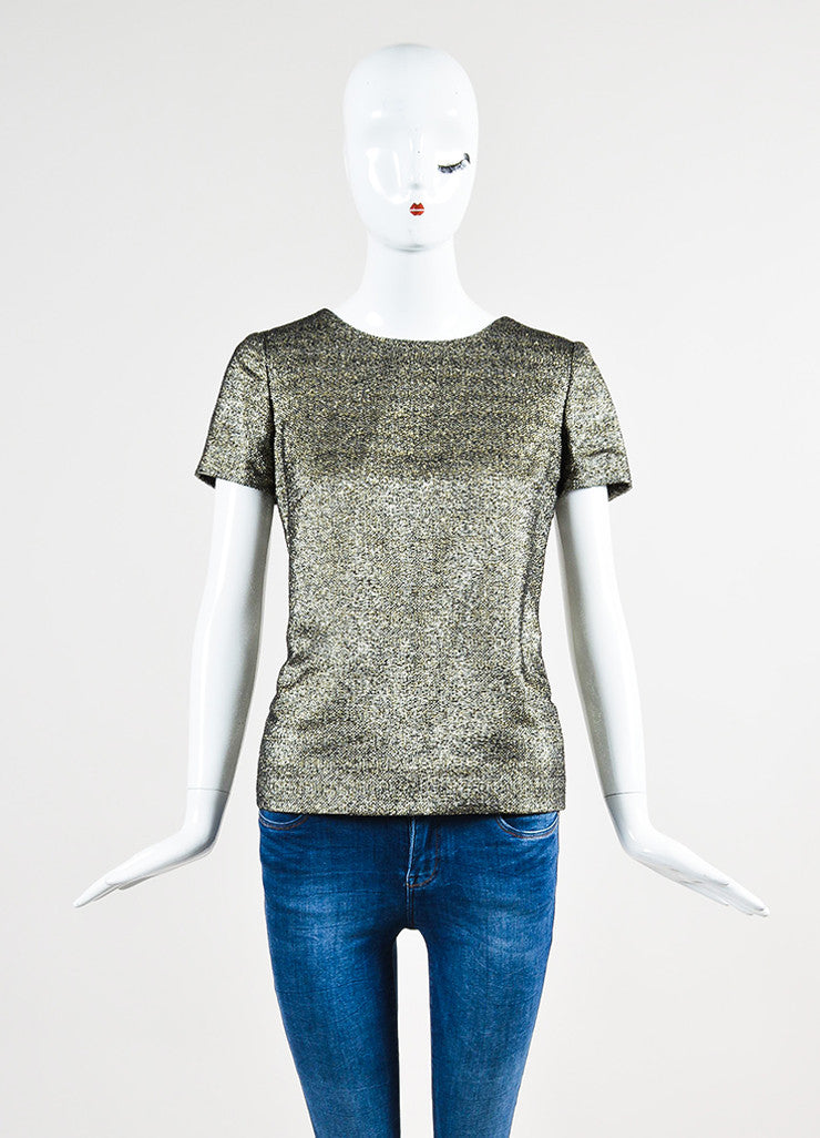Chanel Gold and Silver Metallic Tweed Short Sleeve Top Frontview