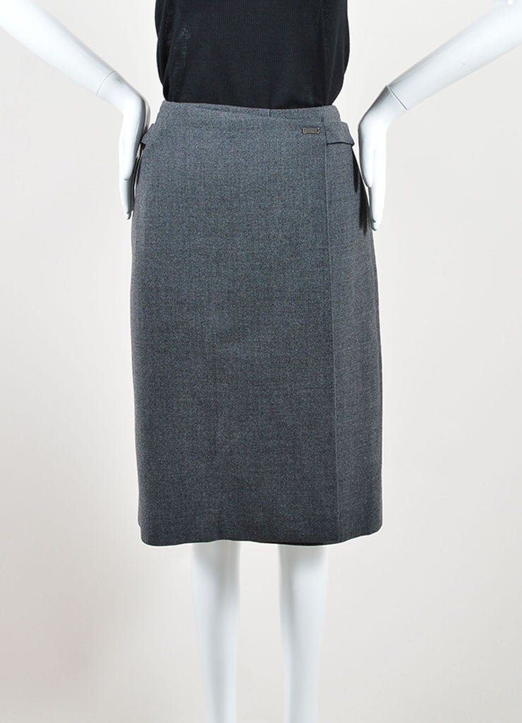 Chanel Grey Wool Knee Length Straight Wrap Skirt Frontview