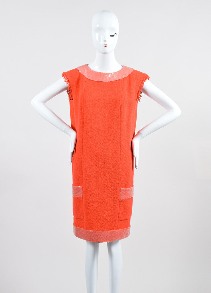 Coral and Pink Chanel Cotton Tweed Sequin Trim Sleeveless Shift Dress Frontview