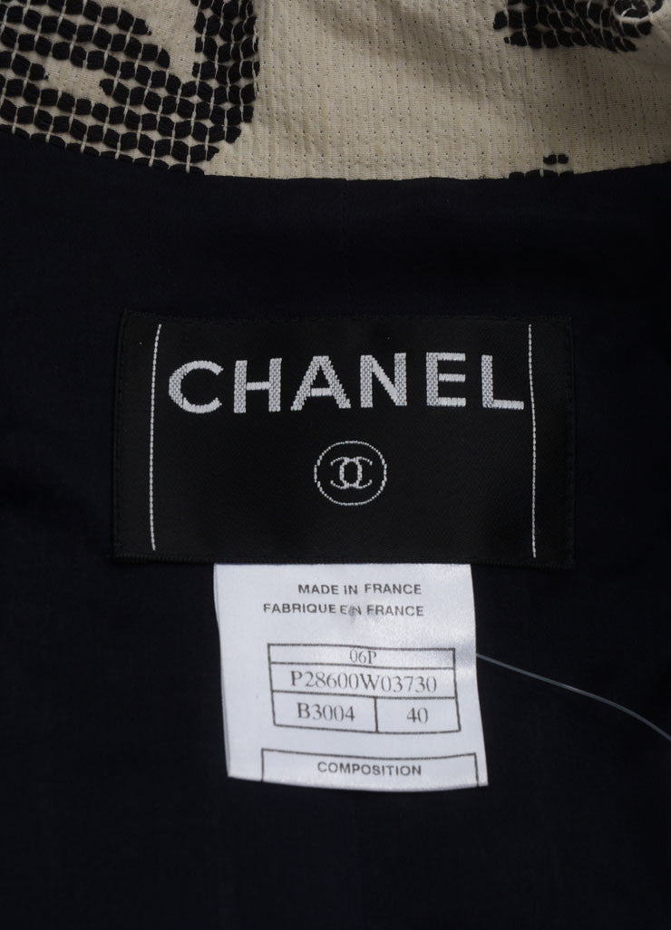 "Chanel Navy Blue Tweed ""CC"" Collar Belted Jacket Brand"
