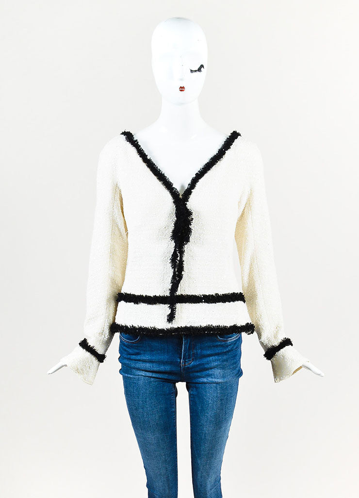 Chanel Off White Sequined Wool Tweed Black Fringe Trim Long Sleeve Top Frontview