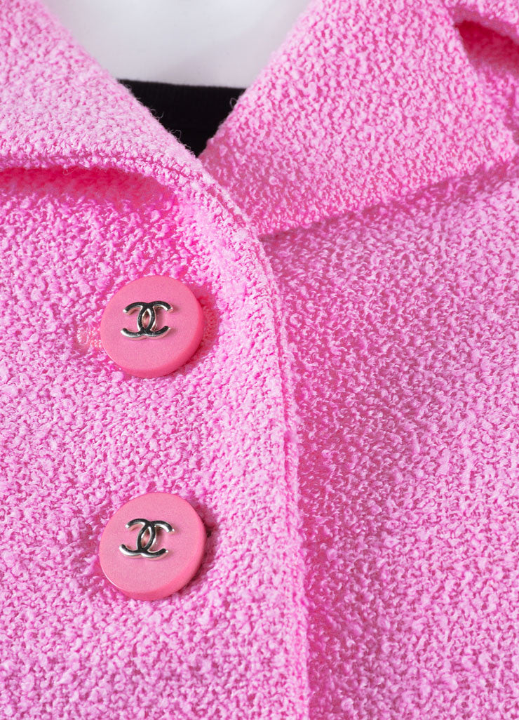 "Chanel Pink Knit ""CC"" Button Coat Detail"