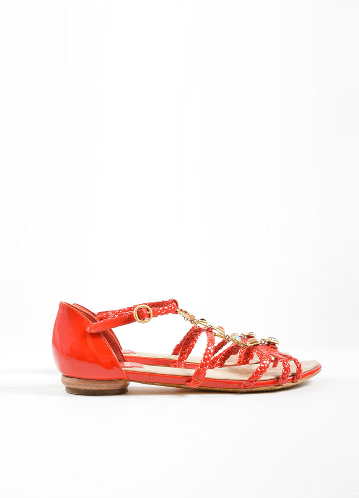 Chanel Red Patent Leather Braided Gripoix Stone Sandals Sideview