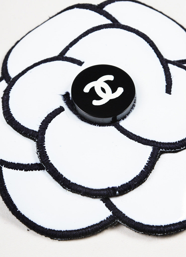 Chanel White and Black Two Tone 'CC' Logo Camellia Flower Hair Comb Pin Detail
