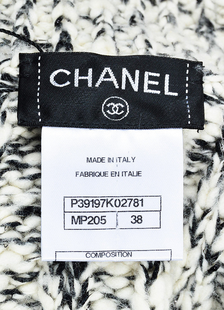 Chanel White and Black Wool Blend Knit Rhinestone Embellished Cardigan Brand