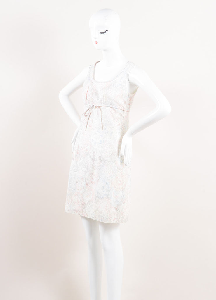 Chanel White, Blue, and Pink Floral Print Empire Waist Sleeveless Cotton Dress Sideview