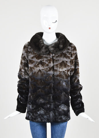 Christian Cota Brown Ombre Sheared Mink Coat Frontview 2
