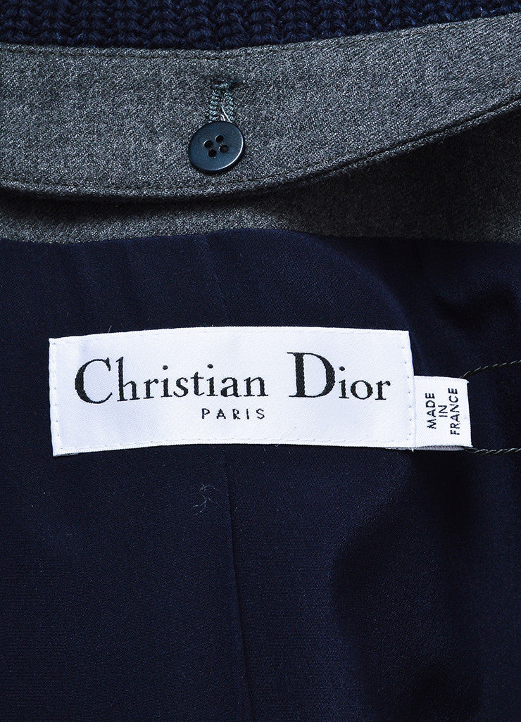 Grey Navy Christian Dior Chunky Knit Sleeves Peacoat Brand