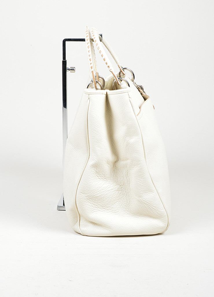 "White Christian Dior Leather Dior Charm ""Diorissimo"" Tote Bag Sideview"