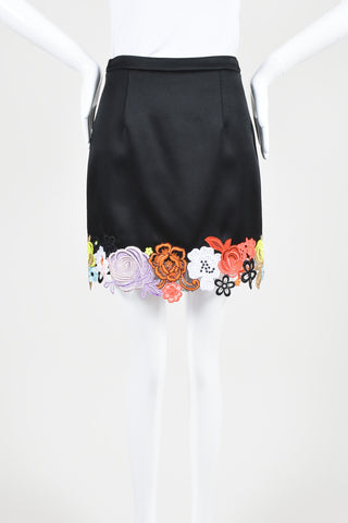 Black and Multicolor Christopher Kane Satin Floral Embroidered Skirt Frontview