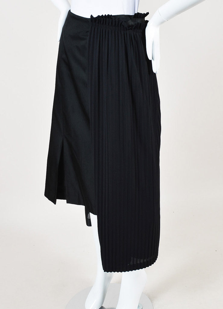 Comme des Garcons Black Silk Blend Pleated Panel Asymmetrical Skirt Sideview