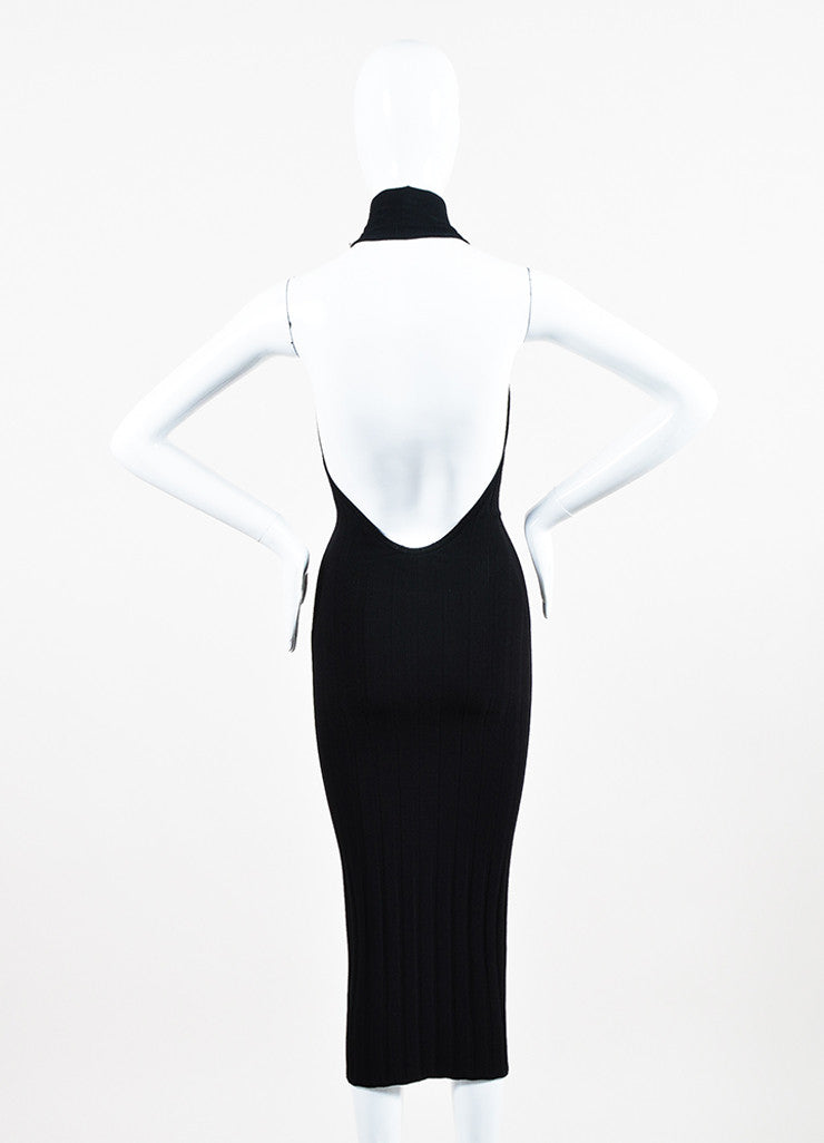 Cushnie et Ochs Black Textured Knit Turtleneck Halter Dress Backview