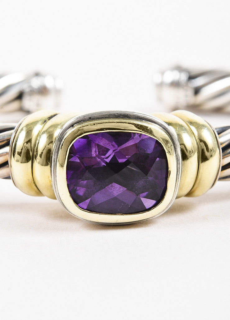 "David Yurman 14K Yellow Gold, Sterling Silver, and Amethyst ""Noblesse"" Cable Bracelet Detail"